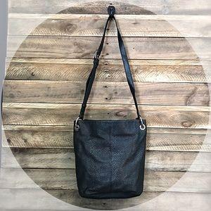 TIGNANELLO black textured leather bag with silver